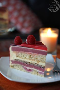 Raspberry Curd & Vanilla Mascarpone Mousse Entremet Cake - Once in a blue moon. Cold Desserts, Fancy Desserts, Fancy Cakes, Elegant Desserts, Beautiful Desserts, Sweet Recipes, Cake Recipes, Dessert Recipes, Baking School
