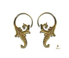 Brass hoop earringsTribal brass earrings tribal brass by NELAJAPAN