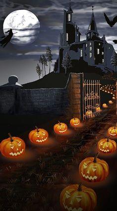 Image Halloween, Halloween Artwork, Halloween Painting, Halloween Pictures, Halloween House, Holidays Halloween, Spooky Halloween, Halloween Pumpkins, Happy Halloween