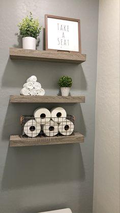 Shelves Above Toilet, Bathroom Shelves Over Toilet, Bathroom Shelf Decor, Floating Shelves Bathroom, Bathroom Wall Storage, Upstairs Bathrooms, Downstairs Bathroom, Laundry In Bathroom, Small Downstairs Toilet