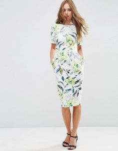 Image 1 ofASOS Wiggle Dress in Watercolour Floral Print