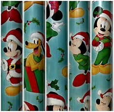 Blue Disney Christmas Gift Wrapping Paper Featuring Mickey MouseMinnie MouseDonald Duck and Goofy 70 sq ft Roll ** To view further for this item, visit the image link. (This is an affiliate link)