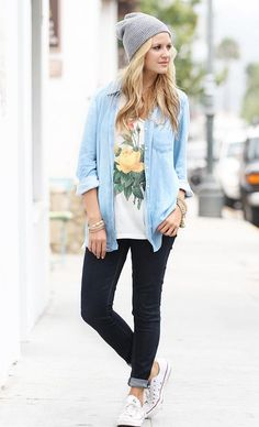 Use Beanies To Transform Your Autumn Outfit Into A Winter One. Flowered undershirt is a thumbs up!