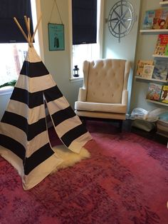 Neverland-inspired Big Girl Room featuring tee-pee and fun Peter Pan decor!