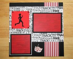 Track Scrapbook Page - Track Scrapbook Layout - 12 X 12 Scrapbook - Premade Page - Cross Country - Track and Field - Track Meet - Marathon  AngelBDesigns4You