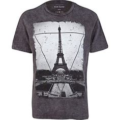 BLACK ACID WASH PARIS PRINT T-SHIRT RI