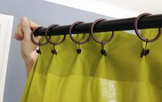 Clip-on Curtain rings and Pleating. http://www.younghouselove.com