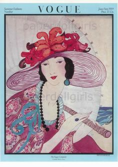 Vintage VOGUE Cover Poster June 1, 1919 Summer Fashions Helen Dryden Illustration. $11.00, via Etsy.