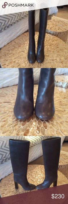 💯  Chloe high boots FIRM Gray leather tall boots to the knee. 4 inch wood heel. Slight scuffing throughout very soft leather does not fall down though. Size 38.5 but fits 7.5-8 best. If u have a really high instep these will be uncomfortable for u to wear. Higher trade value Chloe Shoes Heeled Boots