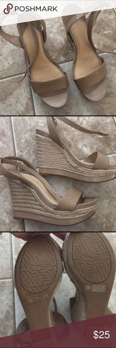 "Gianni Bini nude wedges. Sz 8 1/2. Nude snake skin pattern with ankle strap. Heel height at highest is 5"" lowest is 2"". Worn a few times. Gianni Bini Shoes Wedges"