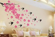 Wall Decals - YYone Swallows Flying in Cherry Blossom Flower Wall Decal Sticker