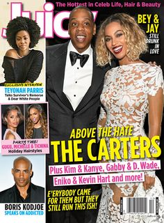 Beyoncé, Jay Z. Teyonah Parris, Gugu Mbatha-Raw, Michelle Williams and Boris Kodjoe cover the November/December 2014 issue of Juicy magazine
