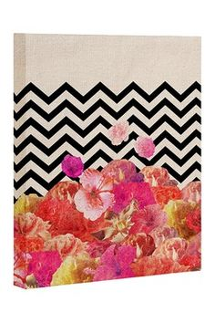 Chevron Flora 2 Canvas Wall Art