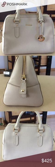 Furla Small Satchel with Crossbody Strap I've used this handbag very little. It maintains the beautiful, clean and strong Italian leather. The bag comes with the dust bag and cross-body strap that I never used. The inside still smells new. Furla Bags Satchels