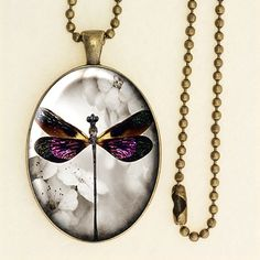 Items similar to Royal Purple Dragonfly Pendant. Dragonfly Long Chain Necklace, Insect Jewelry Pendant, Bronze Dragonfly Print Pendant on Etsy Cameo Pendant, Oval Pendant, Dragonfly Photos, Dragonfly Pendant, Vintage Floral, Pocket Watch, Jewelery, Vintage Fashion, Bronze