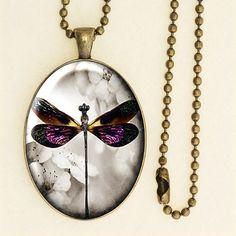 Vintage Floral Dragonfly Pendant, Long Chain Necklace, Handmade Glass Cabochon, Antique Bronze 003R002K002B