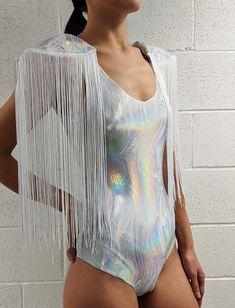8c0a942c47 Unicorn Bodysuit White Holographic Unicorn Coacella Festival Outfit  Removable Fringe Shoulder Pads Rave Dress