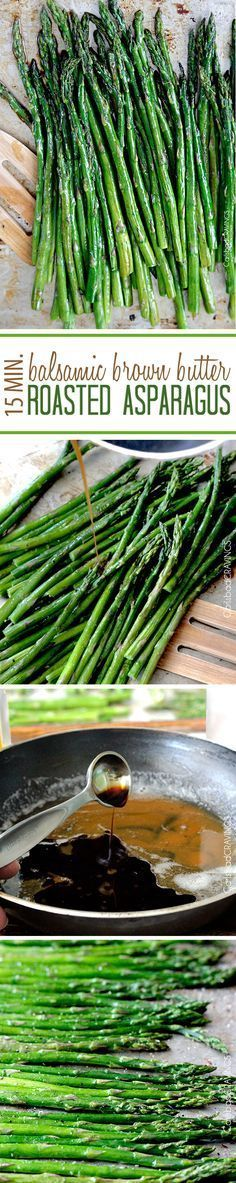 """15 Minute Balsamic Brown Butter Roasted Asparagus. You want this side """"ace"""" in your back pocket! quick and easy made from pantry staples but tastes gourmet enough for any company or special occasions (like Mother's Day!). #asparagus #roasted #roastedasparagus #brownbutter"""