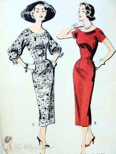 1950s Sheath Dress Pattern Short Sleeves or Lovely Full Sleeves Sew Easy Advance 8321 Vintage Sewing Patterns Factory Folded Bust 36