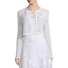Elie Tahari Astor Eyelet Cropped Jacket ($425) ❤ liked on Polyvore featuring outerwear, jackets, white, flower print jacket, collarless jacket, long sleeve jacket, white eyelet jacket and white floral jacket