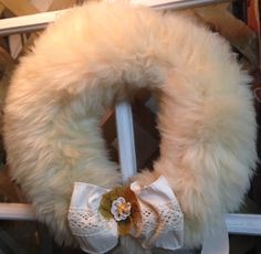 Vintage upcycled furwreath with antique jewelry by AuntieMantiques