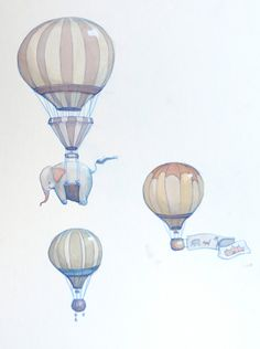 Hot Air Balloons and Elephants Illustration by neesha on Etsy, $55.00
