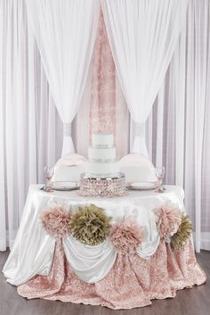 Blush and champagne sweetheart table with crystal cake stand. Also perfect for quinceañeras, baby showers, and birthday parties!