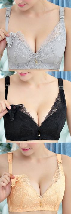 Front Button Nursing Super Thin Gather Push Up Bras #fashion #style