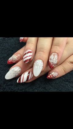 White, silver & red Christmas acrylic nails