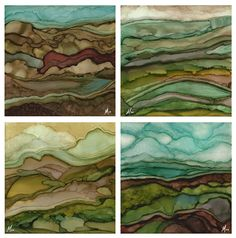 Agate-inspired abstract landscapes - alcohol inks on cradled wooden board by Monica Moody #art #artist #followart