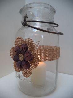 6 Rustic Burlap Mason Jar Candle Shower Country Wedding Party Decorations AU2 #BurlapBrides