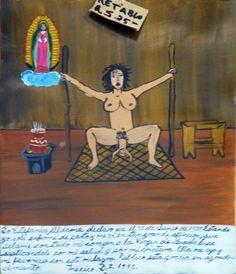 Я, Эстефания Альдама, заявляю, что 25 июня 1937 г. я рожала совершенно одна. В такой трудной ситуации я всем сердцем взмолилась Пресвятой Деве Гваделупской, чтобы она позаботилась обо мне и моем ребеночке. И Пресвятая Дева явила мне свою милость, в благодарность за что я приношу ей это ретабло.  Мехико, 1945.