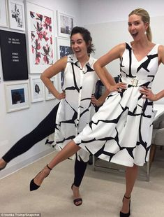 Twinning: The mother-of-three also posted a snap of her and her art director Katie Evans wearing corresponding outfits from the Ivanka Trump collection