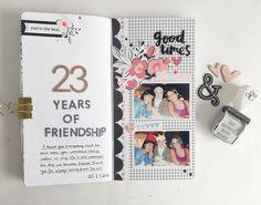 Traveler's Notebook spread by @hebaalsibai (FYC Bold Alphabet stamp set)