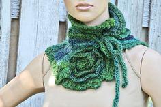 Crochet Scarf freeform rosees Capelet Neck Warmer Freeform crochet Green blue Women Freeform Crochet Gift