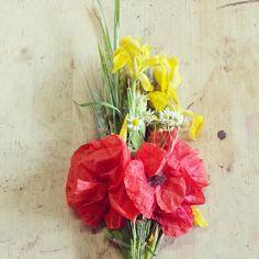 ears, poppies, daisies and wild iris