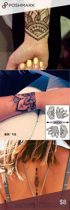 Water Transfer Temporary Tattoo Beautiful floral henna design black temporary tattoo sheet. Diamonds & Jules Accessories