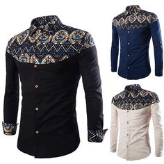 Abetteric Mens Irregular Fit Casual Embroidery Long Sleeves T-Shirts