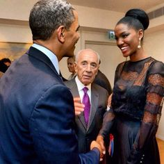 "President Obama, America 1st Black President meets Yityish Aynah, Israel's 1st Black Miss Israel at a State Dinner hosted by Israel's President Shimon Peres's home in Jerusalem. ""Titi"" (as she is known) was orphaned at the age of 10 (after both her parents passed) in her home country of Ethiopia & moved to live with her grandparents in Israel. More than 120,000 Ethiopian Jewish Immigrants have moved to Israel since the 1940's (even though life is still a struggle for them)."