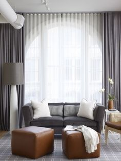 The Lovely Arched Window Curtains : Engaging Arched Window Curtains Also Gray Carpet Also Bay Window With Darkgray Drapes Also Darkgray Sofa And White ...