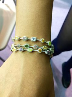 3 line Mix Color Diamonds Bracelet