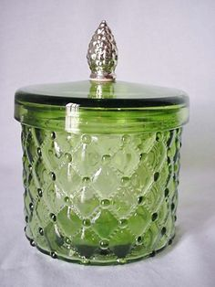 Captivating Green Depression Glass Canister Storage Jar With Pine Cone Handle Silver  Plated Home U0026 Garden Kitchenware