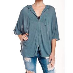 Monoreno  linen zip poncho Great looking hoodie by Monoreno, perfect to just throw on anytime, attached drawstring hood, poncho sleeves, zip front, knit back panel,curved hem with split sides, teal color Monoreno Jackets & Coats
