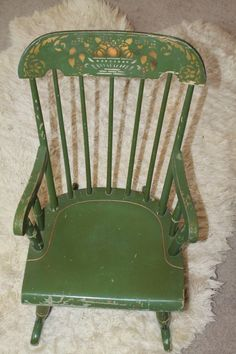Vintage Nichols and Stone Co. & Williamsburg Chair Green Child's Rocking Chair