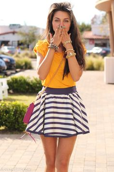 Kisses fashion nails jewelry stripes yellow skirt fashion photography
