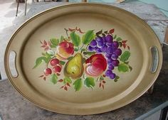 "Vintage Nashco Tole Painted Fruit Metal Serving Tray measures 19 1/2"" by 14""."