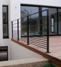 Outdoor railing / metal / with bars / for patios CABOURG E Modern Railing, Metal Railings, Modern Staircase, Balcony Railing, Stair Railing, Stairs, Patio Plan, Balustrade Balcon, Escalier Design