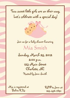 Twin Baby Girls shower invitation - baby girl shower invitation twins --  you print or I print