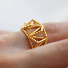 Prisma geométrico jaula anillo 3d impreso-pulido oro