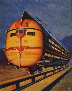 Concept Train / Monorail / Vintage Past / Retro Futurism / Future Past / Illustration / Norman Rockwell, Art Deco Posters, Vintage Posters, Comics Illustration, Pub Vintage, Vintage Trains, World Of Tomorrow, Frank Frazetta, Ralph Mcquarrie